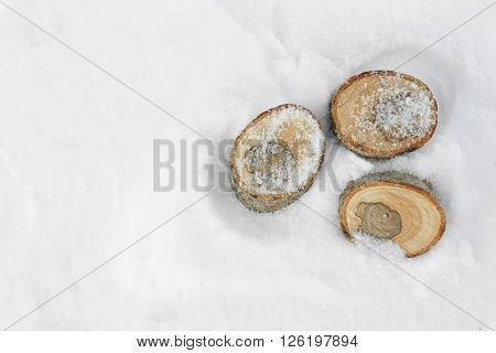 Stumps on natural snowdrift, close up
