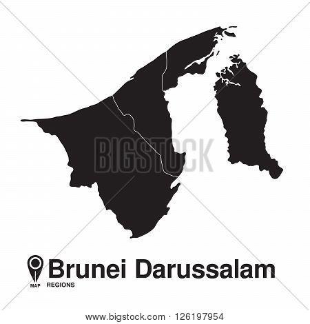 Brunei Darussalam map regions. vector map silhouette