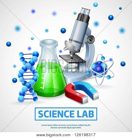 Scientific laboratory realistic design concept with microscope model of dna molecule and flask with chemical reagent vector illustration