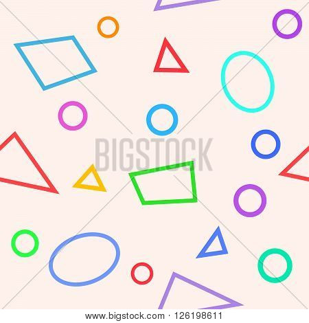 Simple seamless pattern with circles triangles and polygons. Usable as web background. Vector illustration.