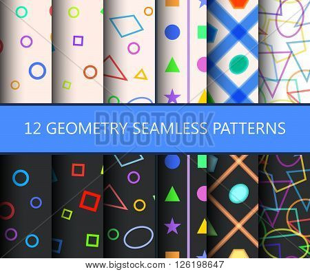 Set of twelve geometry seamless patterns. Usable for web backgrounds. Vector illustration.