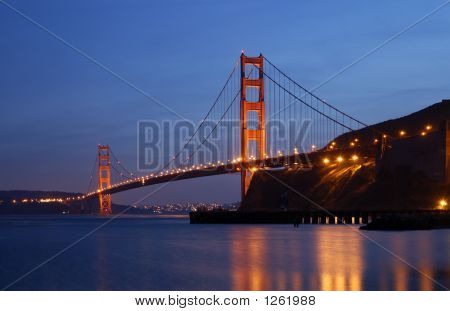 Golden Gate Glowing In The Dusk