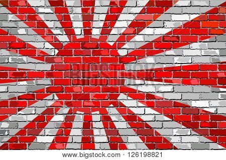 Flag of Japanese Navy on a brick wall - Illustration, 