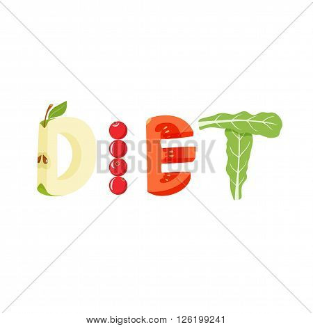 Diet vegetables letter. Healthy food vector letter. Diet lettering with vegetables isolated on white background. Text vector illustration. Diet vegetables font.