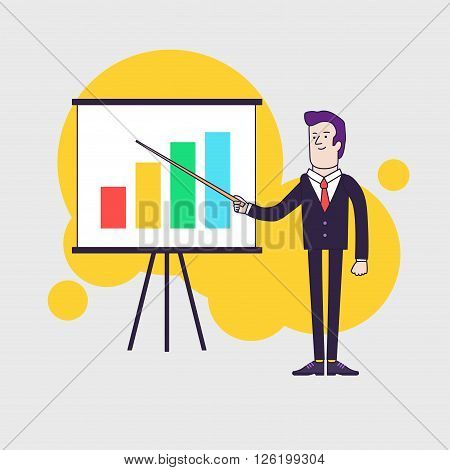 Modern businessman points to flipchart with colored bar chart. Line flat style illustration.