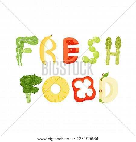 Fresh food vegetables letter. Healthy food vector letter. Fresh food lettering with vegetables isolated on white background. Text vector illustration. Fresh food vegetables font.