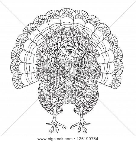 Hand drawn doodle outline turkey decorated with ornaments.Vector zentangle illustration.Floral ornament.Sketch for tattoo or coloring pages.Boho style.