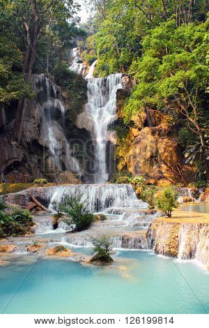 Tad Kuang Si waterfall in forest near to Luang Prabang, Laos