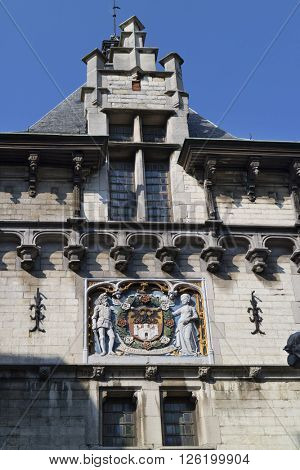 Antwerp,Belgium,March 17,2016,Coat of arms of the city of Antwerp above the gate of the Steen castle
