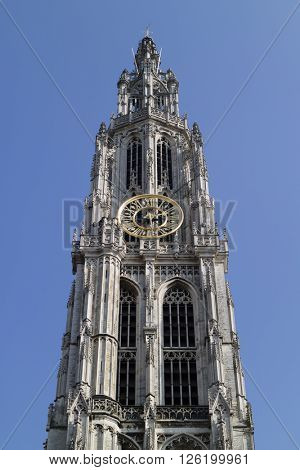 Antwerp, Belgium, March, 17, 2016,Tower of the Onze-Lieve-Vrouwekathedraal atHandschoenmarkt in Antwerp, belgium