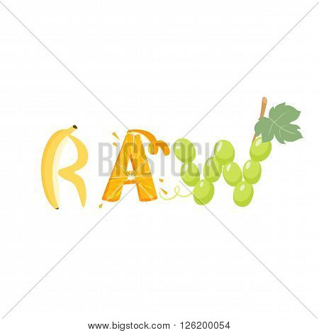 Raw vegetables letter. Healthy food vector letter. Raw lettering with vegetables isolated on white background. Text vector illustration. Raw vegetables font.