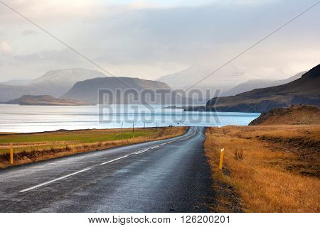Amazing Icelandic landscape with a mountains and a gulf called Hvalfjordur. ** Note: Visible grain at 100%, best at smaller sizes