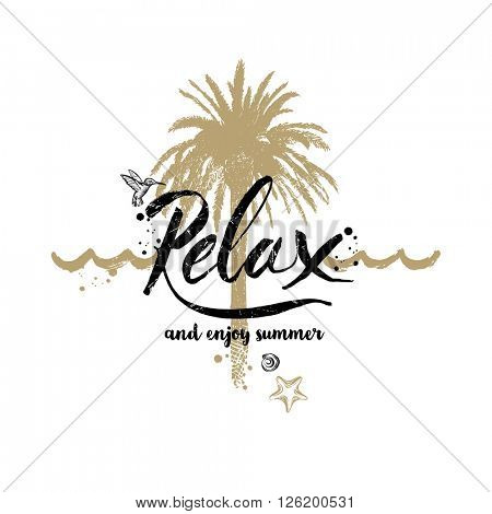 Relax and enjoy summer - Summer holidays and vacation hand drawn vector illustration. Handwritten calligraphy quotes.