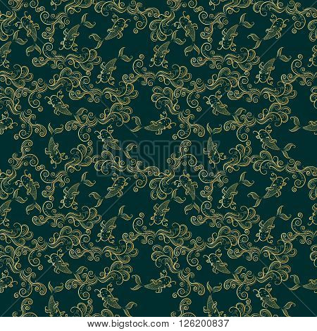 Koi chinese carp seamless pattern. Vector deep green background with gold fish.