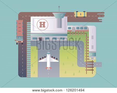 Airport top view. Travel transport, airplane on runway, aircraft and transportation. Vector illustration