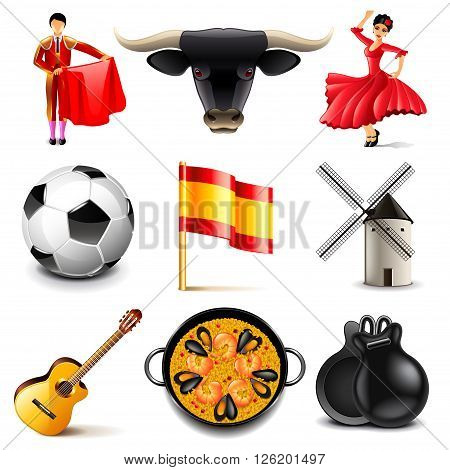 Spain icons detailed photo realistic vector set