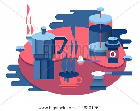 Coffee at breakfast design. Drink cup, espresso hot, aroma beverage, vector illustration