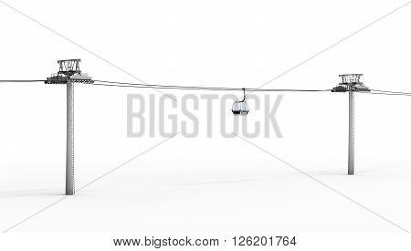Ropeway and lift isolated on white background. 3d rendering.