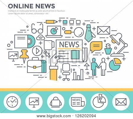 On line news concept illustration, thin line, flat design