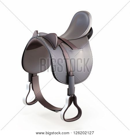 Leather saddle isolated on a white background. 3d rendering