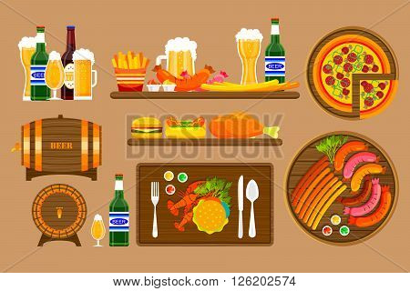 Stock vector illustration set beers, beer mugs, bottles and food with beer, appetizer, fast food in flat style element for info graphic, website, icon, games, motion design, video