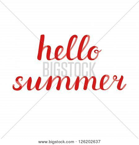 Hello summer lettering. Brush hand lettering. Great for beach tote bags, swimwear, holiday clothes, posters, and more.