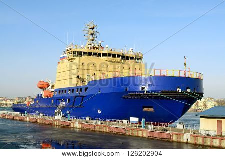 Nuclear-powered icebreaker in all its power and beauty.Standing on the pier in St. Petersburg.