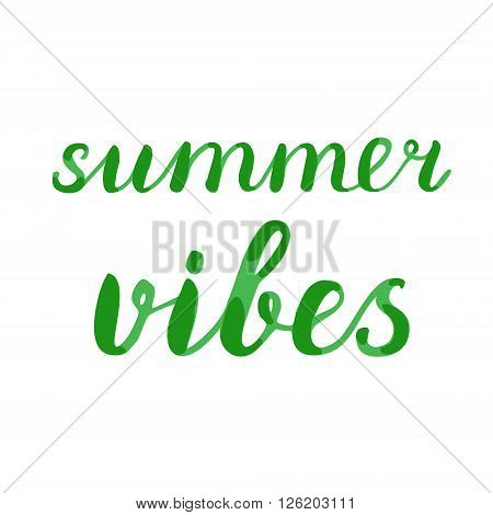 Summer vibes lettering. Brush hand lettering. Great for beach tote bags, swimwear, holiday clothes, posters, and more.