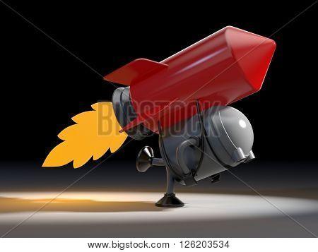 Robot with rocket. 3D illustration