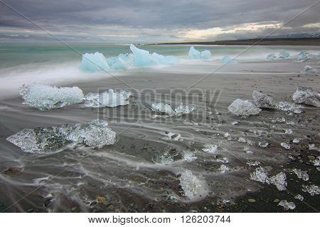 The beach at Jokulsarlon glaciar lagoon in Iceland