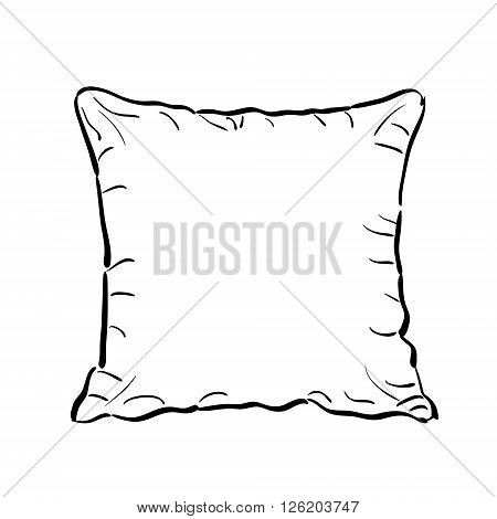 Throw pillow sketch isolated on white background. Sofa toss pillow sketch.