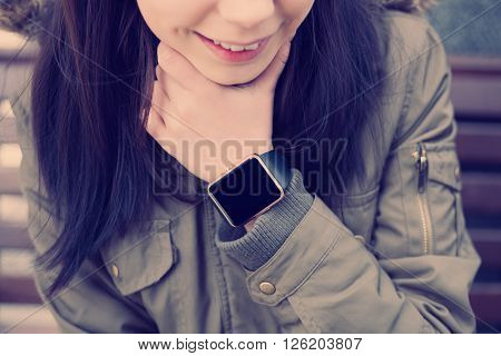 Smiling Girl With Smart Watch