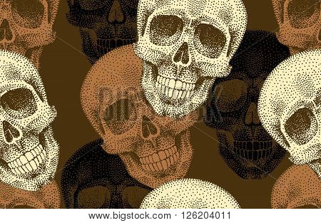 Seamless vector pattern of skulls. Golden skull on black background. Vintage. Illustration of skull to create a wallpaper design textiles and paper. The composition of the skulls.
