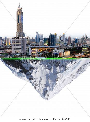 Floating planet,Fancy island city concept Cityscape mountain snow in the air to separate the concept of prosperity makes melting snow.