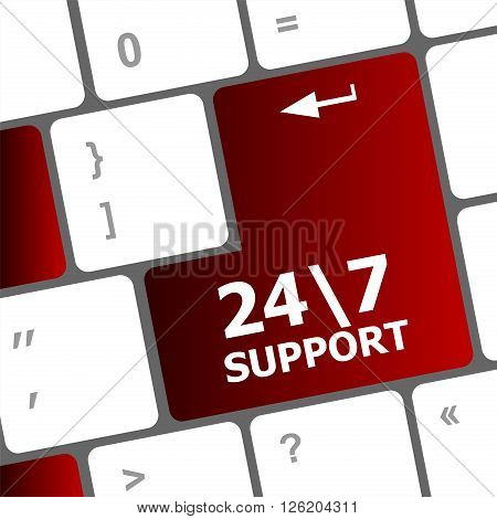 red and white Support sign button on keyboard keys