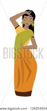 Young traditional indian woman ethnicity clothes portrait vector character illustration.