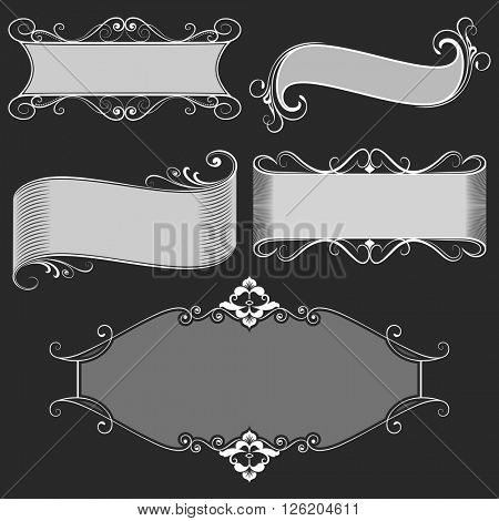 Vintage black and white banners and frame vector set.