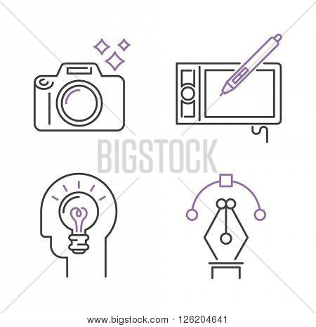 Photography icons camera design studio symbol lens vector outline art.