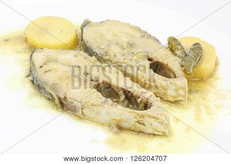 Mustard Hilsha Fish Shorshe Ilsish curry delicacy cuisine Bengali potato chili