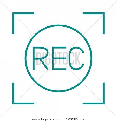 Camera viewfinder rec sign multimedia cinema film vector icon.