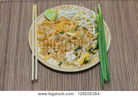 pad Thai dish of stir fried rice noodles with a contemporary presentation.