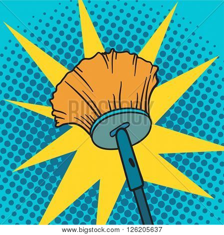 Spring cleaning broom pop art background vector illustration.