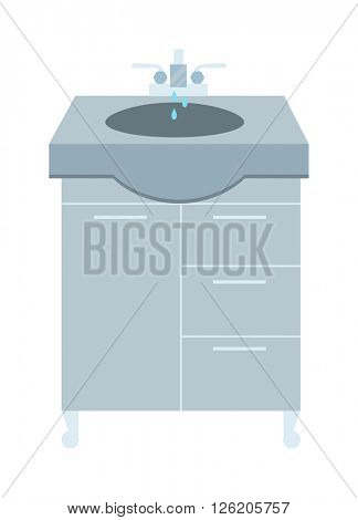 Washbasin and faucet with water drop at home bathroom interior flat vector illustration.