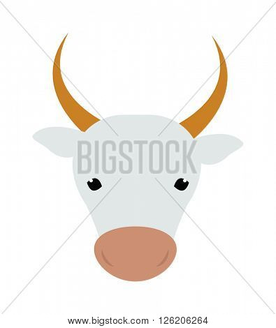 White silhouette of cow head farm animal beef mammal agriculture milk face vector illustration.