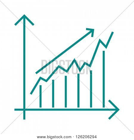 Vector growing chart graph icon business arrow progress diagram.