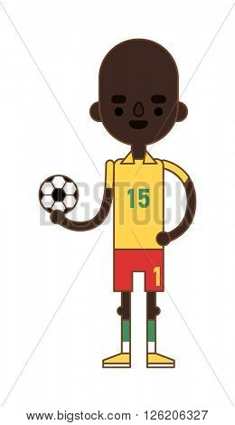 Little kid soccer boy playing with football sport equipment fun game vector character.