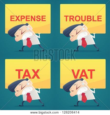 Businessman carrying text labels, Set, Cartoon, Vector