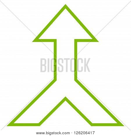 Combine Arrow Up vector icon. Style is outline icon symbol, eco green color, white background.