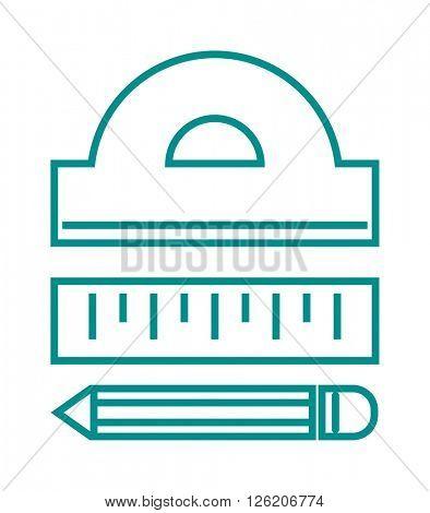Ruler tool flat icon vector illustration on white background.