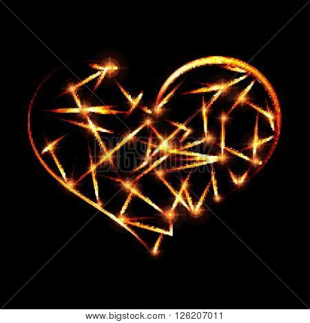 Abstract design-fiery heart shape on black background.Vector illustration.